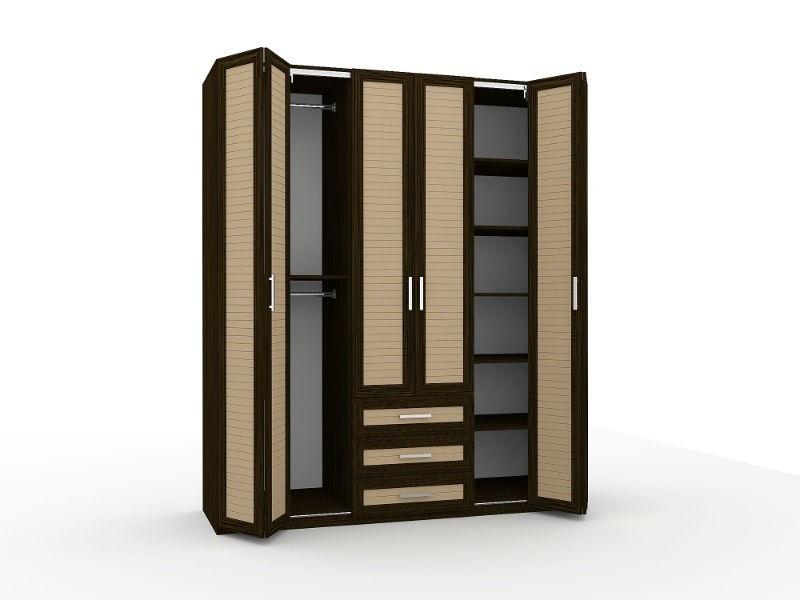 шкаф гармошки со складными дверями из ротанга